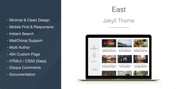 East - Minimal and Clean Jekyll Blog Theme
