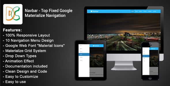 Navbar - Top Fixed Google Materialize Navigation Download