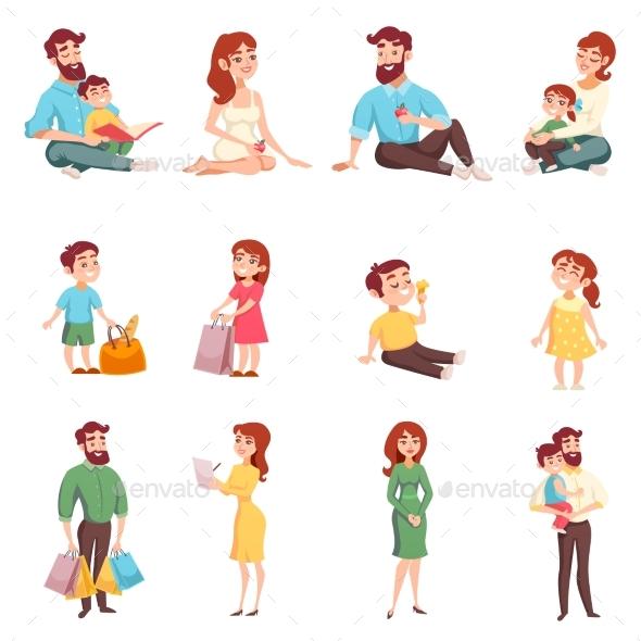 Family Members Cartoon Style Set