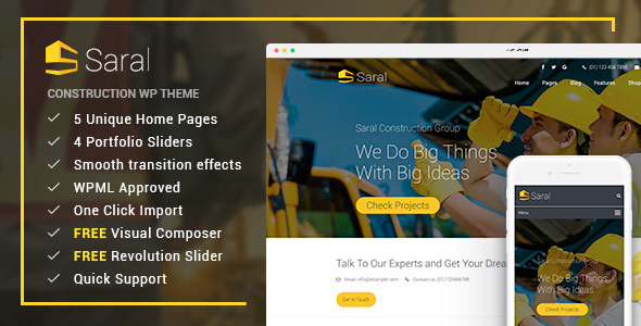 Saral - Construction Building Responsive WordPress Theme