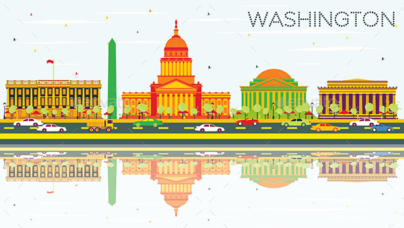 Washington DC Skyline with Color Buildings, Blue Sky and Reflections.