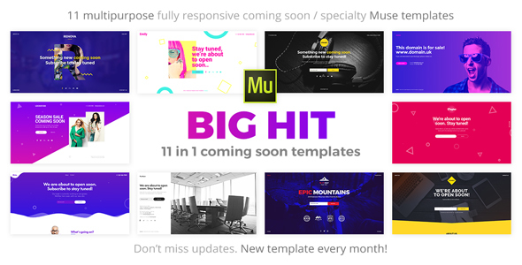 BigHit - 11 in 1 Coming Soon Responsive Muse Templates