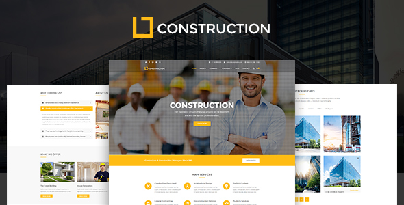 Construction - Construction Company, Building Company Template