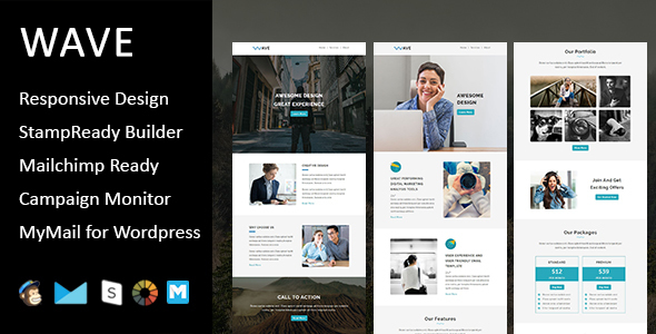 Wave - Multipurpose Responsive Email Template with Stampready Builder Access