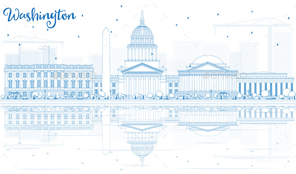 Outline Washington DC Skyline with Blue Buildings and Reflections