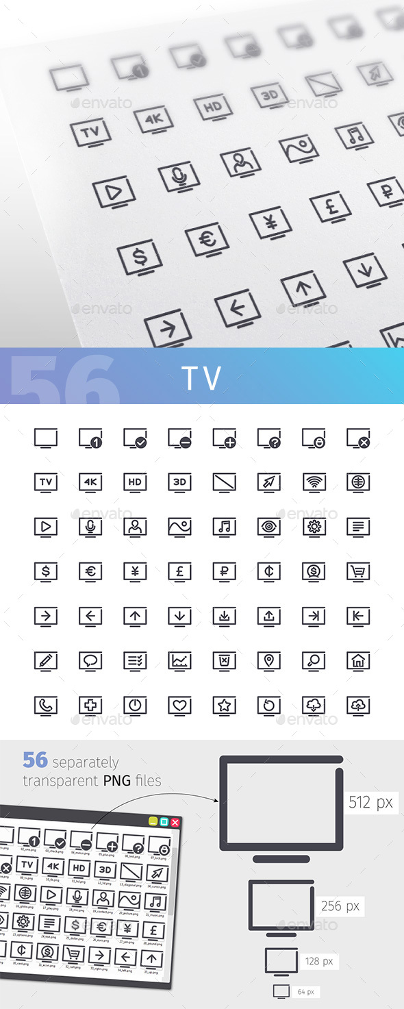 TV Line Icons Set