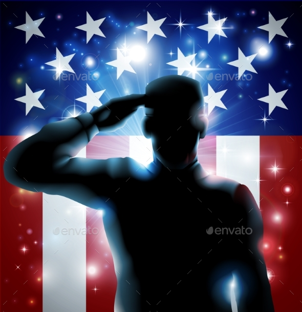 Hero Soldier and Stars and Stripes