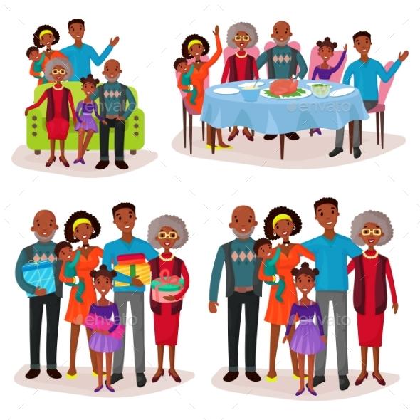 Family Set at Holidays or Festive Gathering