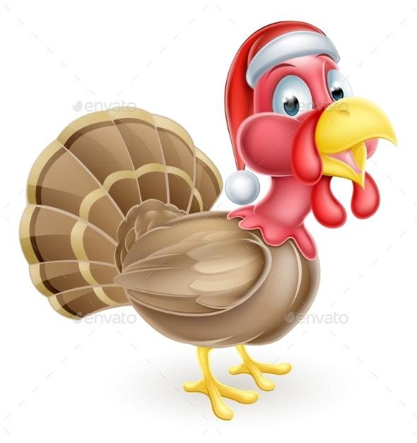 Cartoon Christmas Turkey in Santa Hat