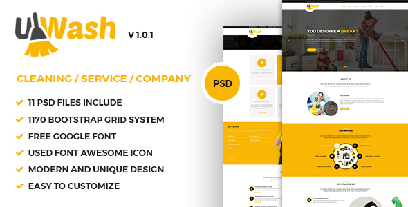 Uwash - Cleaning Service Company PSD Template