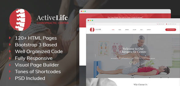 Active Life - Chiropractors and Massage HTML Template with Visual Builder