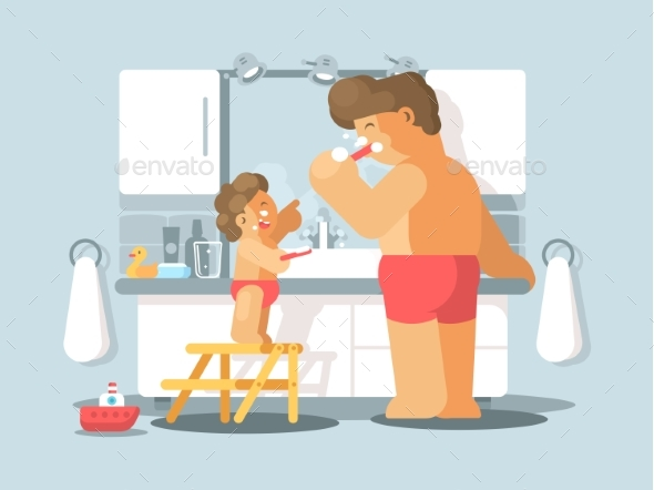 Father and Son Brush Teeth