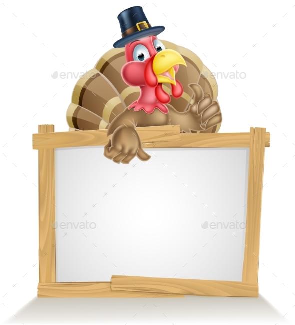 Thanksgiving Pilgrim Hat Turkey Sign