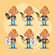 Tattooist Character in Various Positions Part 2 - GraphicRiver Item for Sale