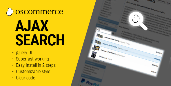 Ajax Search Autocomplete for osCommerce