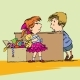 Greedy Girl with Toy and Boy - GraphicRiver Item for Sale