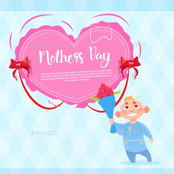 Happy Mother Day, Son Hold Flowers, Spring Holiday
