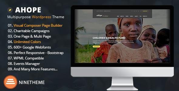 Crowdfunding & Charity WordPress Theme - Ahope