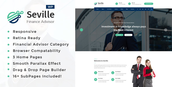 Seville -Business Consulting and Professional Services WordPress Theme Free Download