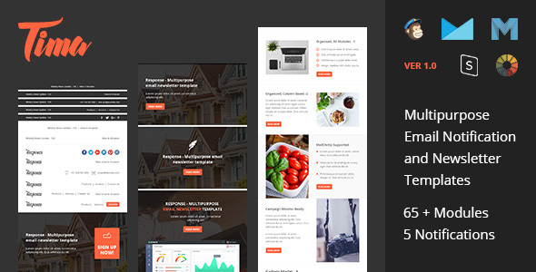 Tima - Multipurpose Email Notifications & Newsletter Templates