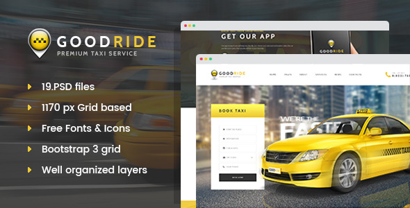 Good Ride - Premium Taxi Service PSD Template