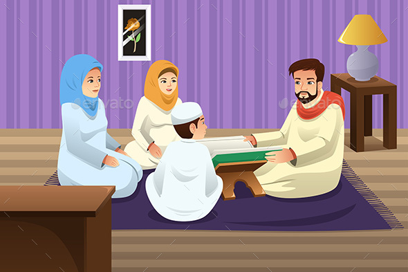 Muslim Family Studying Quran at Home