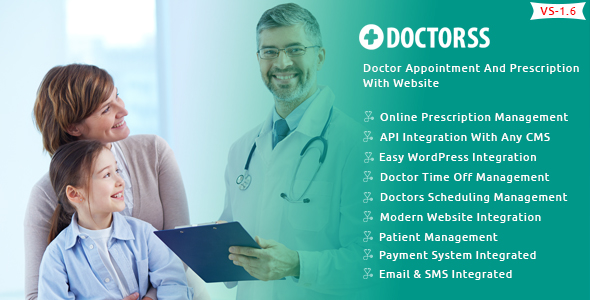 Doctorss - Doctor Appointment and Prescription System with Website Download