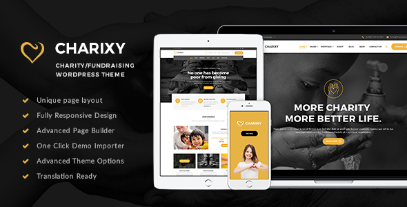 Charixy - Charity/Fundraising WordPress Theme