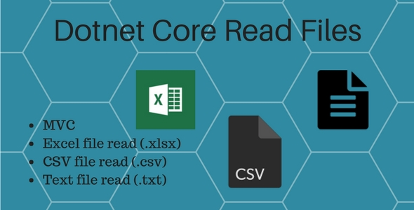 Dotnet core Read excel, csv and text file