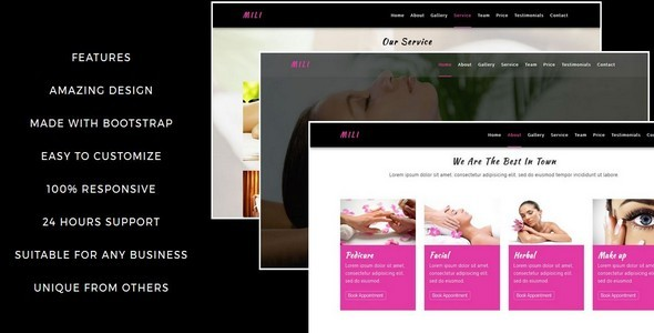 MILI-Beauty Saloon And Spa HTML5 Template