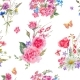 Watercolor Seamless Pattern with Wildflowers and - GraphicRiver Item for Sale