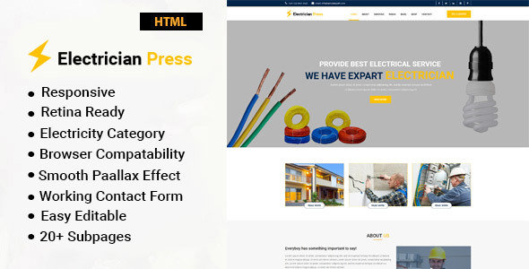 1bcb0cdfb4b Electrical HTML Website Templates from ThemeForest
