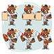 Bull Football Player Character in Various Positions Part 2 - GraphicRiver Item for Sale