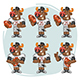 Bull Football Player Character in Various Positions Part 3 - GraphicRiver Item for Sale