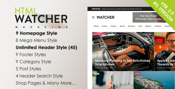Watcher - News Magazine HTML Template