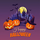Halloween Pumpkins and Dark Castle on Moon Background, Illustration. - GraphicRiver Item for Sale