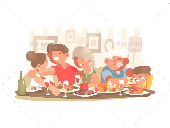 Happy Family at Dinner Table