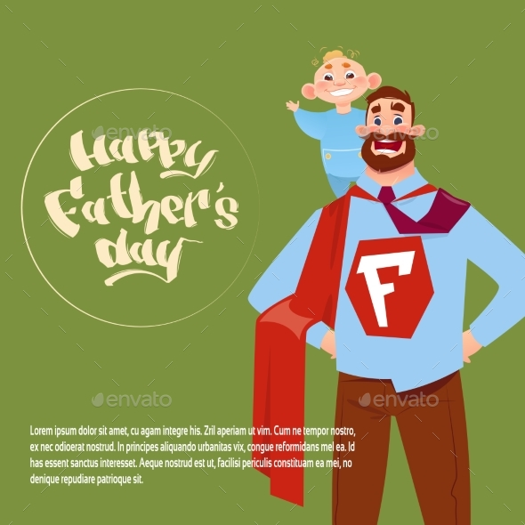 Happy Father Day Family Holiday, Man Dad Hold Son