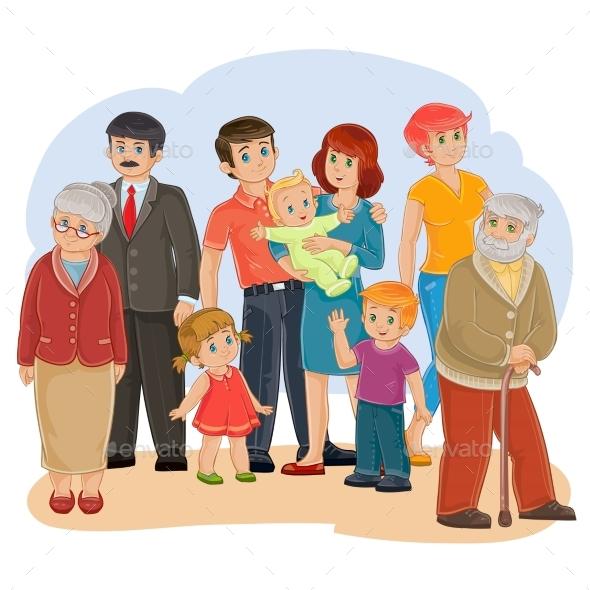 Vector Happy Family - Grandfather