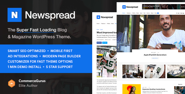 Newspread - Magazine, Blog, Newspaper and Review WordPress Theme