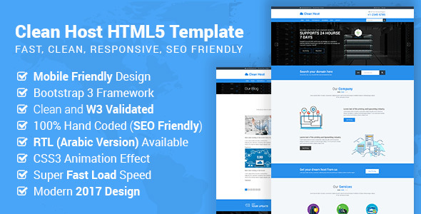 Cleanhost - Responsive Web Hosting HTML5 Template (RTL Supported)
