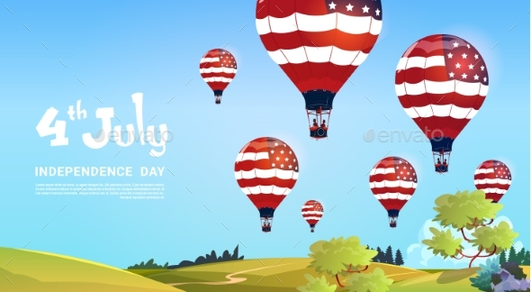 United States Flag Colored Air Balloons Flying