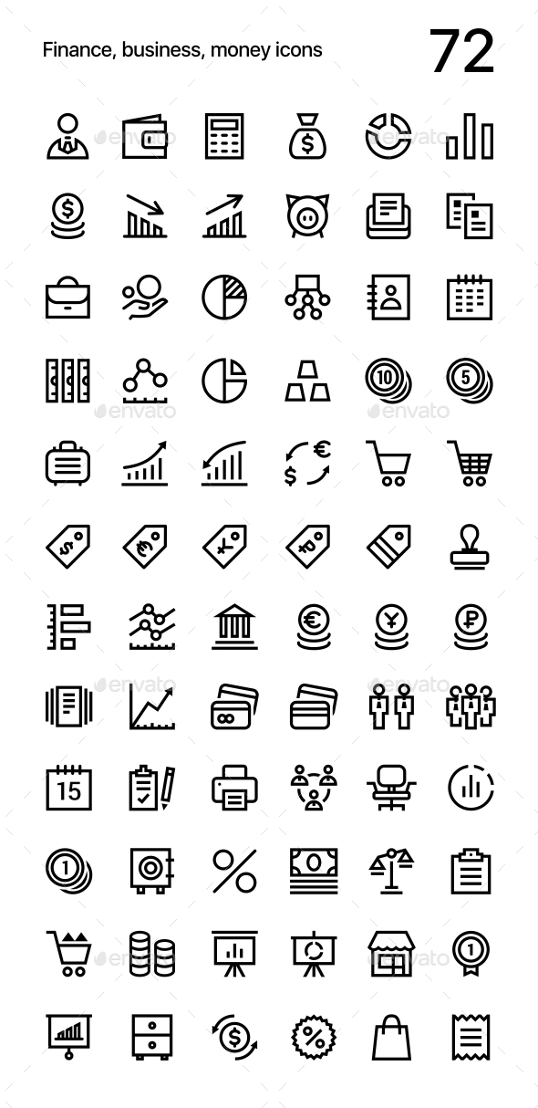 Finance, Business, Money Icons Pack for Web and Mobile Apps