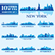Set of 10 Silhouettes USA Cities - GraphicRiver Item for Sale