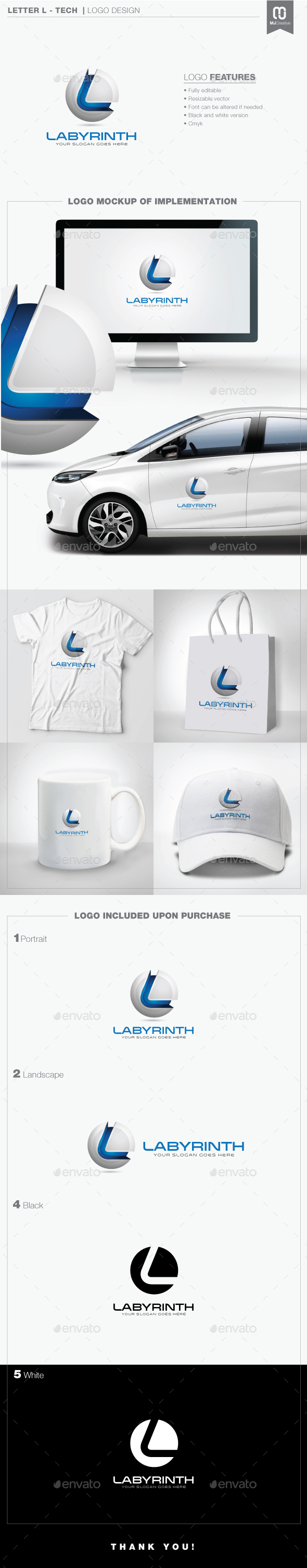 Letter L - Tech Logo