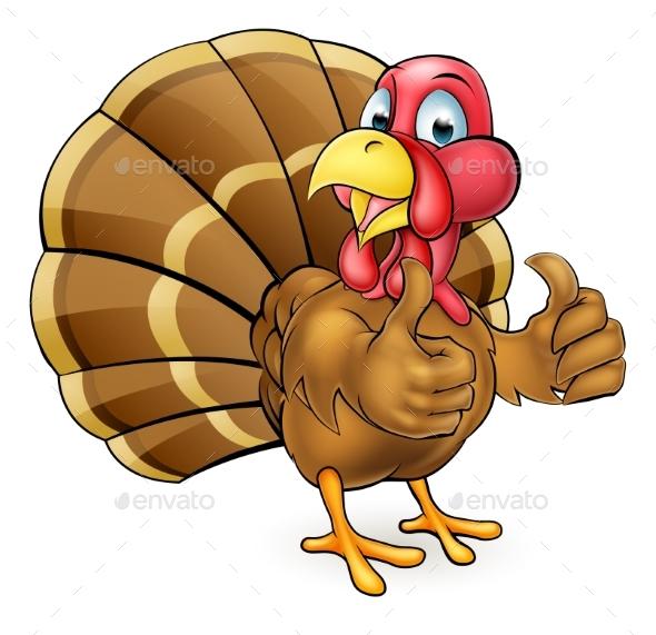 Cartoon Turkey Bird Giving Thumbs Up