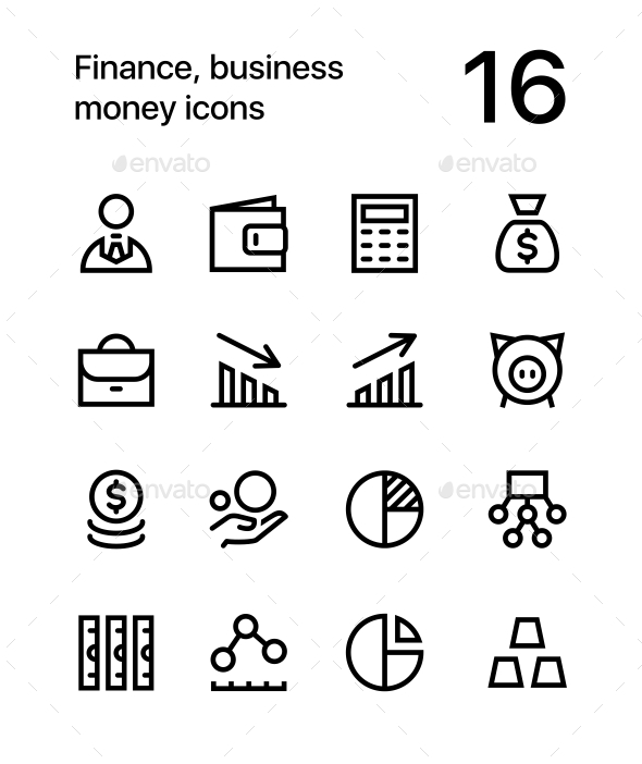 Finance, Business. Money Icons for Web and Mobile Design Pack 1