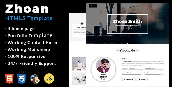 Zhoan - Personal Portfolio Template