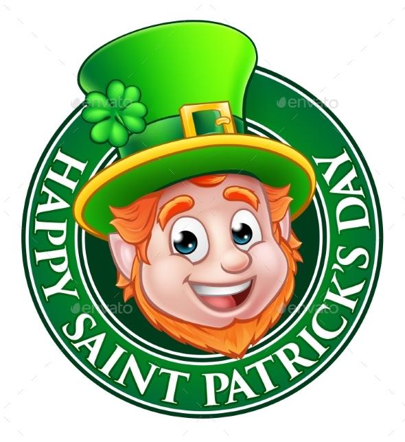 Cartoon St Patricks Day Leprechaun Sign