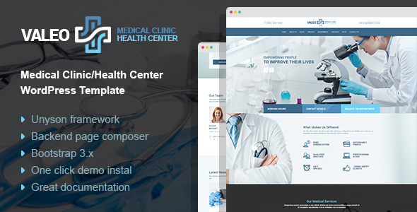 Valeo - health center and hospital WordPress Theme